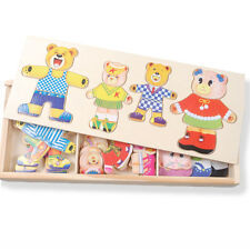 Toys Of Wood Oxford Wooden Bear Family Dress Up Puzzle Box Fun Jigsaw Puzzle