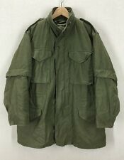 Vintage US Military M-65 Dark Green Field Jacket W/Original Liner Sz Medium Long