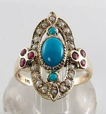 LONG FINGER 9CT 9K TURQUOISE PEARL & RUBY ART DECO INS RING FREE RESIZE