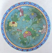 """5.7"""" Antique Chinese Blue Cloisonne Squat Vase or Bowl w/ Red & Yellow Flowers"""
