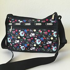 LeSportsac Black Multi School's Out Deluxe Everyday Bag Messenger 7507 D839 NWT