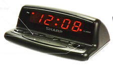 Sharp Digital Alarm Clock Electric w/ Battery Backup Keyboard Controls Compact