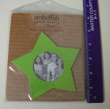 Embellish Your Story Magnets GREEN STAR PHOTO FRAME SET of 3 NEW