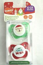 NEW ULUBULU 2 Expression Pacifiers Christmas Holiday Santa Wish 6-18 Months