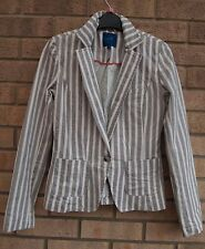 NEXT WHITE GREY STRIPE 98% COTTON TAILORED PADDED SHOULDER FIT BLAZER COAT 6 XS