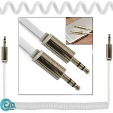 3.5mm Coiled AUX Cable Mini Jack to Jack Male Audio Auxiliary Lead Car MP3 White