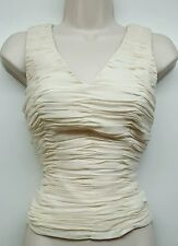 Chetta B Evening Sherrie Bloom ivory ruffled silk tank top blouse formal SZ 6