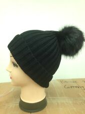 Ladies Unisex Wool Beanie hat Winter Hat With Big Faux Fur Pom Pom