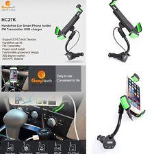 Car Smartphone Mount Holder USB Cigarette Lighter Charger With FM Transmitter
