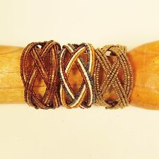 Set of 3 Gold Color Handmade Beaded Braided Jane Cuff Bracelet FREE SHIPPING!!