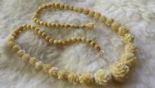 """Vintage Carved Round Cream Flower Graduated Bead 18"""" Necklace"""