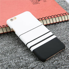 Black and White Stripes Frosted Full Protect Phone Case for iPhone 6 6s 7 Plus