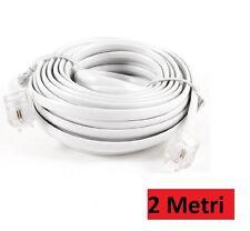 Prolunga Cavo Telefonico Telephone Cable 2 Metri RJ11 Connettore Plug Modem hsb