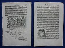 Original antique woodcut prints, HERZOG, COSMOGRAPHIA, Sebastian Munster, c.1578