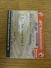 16/09/2003 Ticket: Bournemouth v Sheffield Wednesday. Trusted sellers on ebay bo