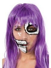 SKELETON TRANSPARENT MASK HALF FACE PRINT SKULL HALLOWEEN RIPPED SKIN SCARY