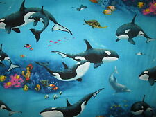 WHALES ORCA TURTLE REEF SEA LIFE BLUE COTTON FABRIC FQ