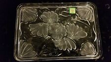WATERFORD BY MARQUIS CRYSTAL FROSTED FLOWERS VANITY TRAY PLATE PLATTER