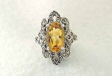 925 Sterling Silver ladies Citrine Marcasite ring size 8-8.5   QVC or HSN