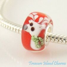 REINDEER CHRISTMAS MURANO GLASS .925 Sterling Silver EUROPEAN Bead Charm