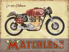 Vintage Garage Matchless Clubman, 120 Motorcyles 60's Bike, Small Metal/Tin Sign