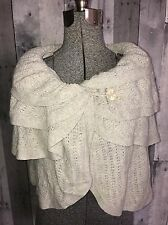 Anthropologie Sleeping on Snow Wool Cashmere Crop Sweater Cape Poncho S M