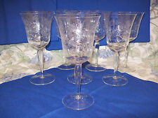 8 Vintage etched-glass cut crystal stemmed wine/water glasses, matching pattern