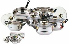 12PC STAINLESS STEEL COOKWARE SAUCEPAN PAN POT CASSEROLE FRYPAN GLASS LID SET