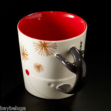 Starbucks Christmas 2015 Reindeer Antler Handle White/Red Mug Cup Xmas 12oz New!