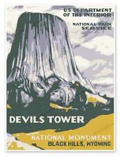 """Devils Tower National Park Service WPA Monument Wyoming Print Poster 18"""" x 24"""""""