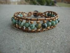 Men's African Turquoise Beaded Brown Leather Cuff Bracelet handmade USA