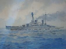ORIGINAL ERNEST CLEGG Watercolor PAINTING Derfflinger IRON DOG SHIP SEAS Antique