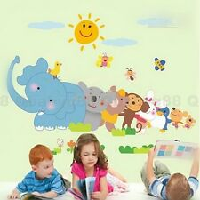 Elephant Monkey Tree Animal Wall decals Removable stickers kids nursery decor