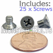 M4 x 6mm - Qty 25 - Stainless Steel DIN 965 Phillips FLAT HEAD Machine Screws A2