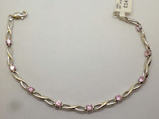 9ct white gold figure of eight link bracelet with pink synthetic diamond stones