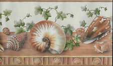 BROWN SEASHELLS AND GREEN IVY WALLPAPER BORDER