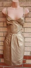 LIPSY 100% SILK GOLD A LINE PARTY EVENING ELEGANT SEXY TUNIC CAMI DRESS S M 10