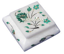 """3""""x3""""x1.5"""" White Marble Jewelry Box Real Malachite Inlay Marquetry Gifts H2729"""