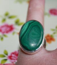 Stunning Huge Malachite Green Vintage Sterling Silver Ring