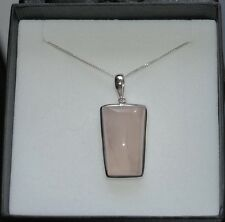 Silver Rose Quartz Gemstone Pendant Necklace in Gift Box