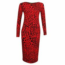 WOMEN LONG SLEEVE LEOPARD POLKA  BODYCON STRETCH JERSEY MIDI DRESS PLUS SIZE8-22