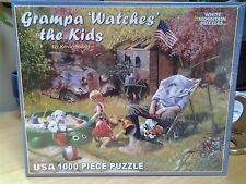 White Mountain - 'Grampa Watches the Kids' Jigsaw Puzzle - 1000 pc, New! Sealed!