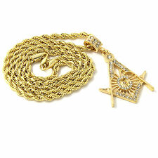Mens 14k Yellow Gold Plated 24in Free Mason Master Mason Rope Chain Necklace 4mm
