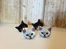 Cats stud earrings black and white, two pairs in a packet.