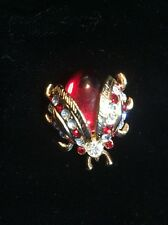 VTG GOLDTONE JELLY BELLY LADY BUG PIN BROOCH RED BODY RED & CLEAR RHINESTONES