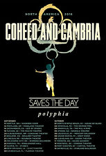 """COHEED & CAMBRIA/SAVES THE DAY/POLYPHIA """"NORTH AMERICA 2016"""" CONCERT TOUR POSTER"""
