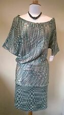 Supertrash BNWT mixed green/gold thread wiggle bat wing Dona Dress UK 14 Eur 40