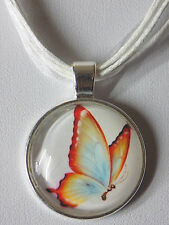 "Butterfly Glass Cabochon Pendant White Organza Ribbon Wax Cords 18"" Necklace"
