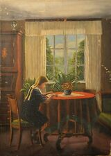 Antique Danish Oil Painting Signed and Dated 1917, Interior Girl Reading, NICE!