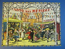 Old c.1890's Antique French Game PRINT - Loto des Metiers - TRADES - SHOPS